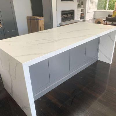 White Stone Kitchen Wtih Waterlegs By Art Stone