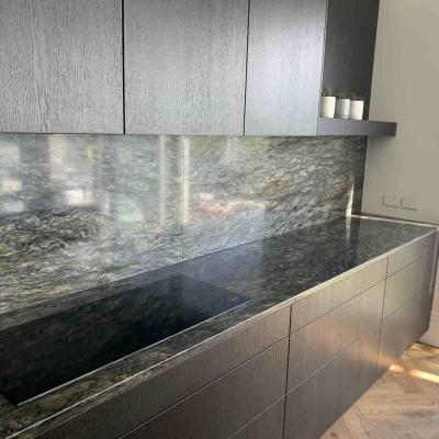 Green Granite Kitchen Benchtop And Backsplash