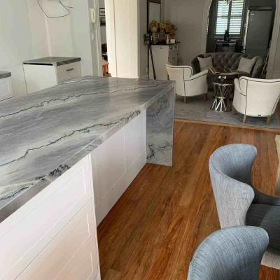 Grey Granite Benchtop With Waterfall Leg
